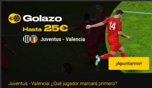 Golazo hasta 25€ con Juventus-Valencia en Bwin