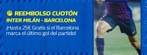 Reembolso cuoton Champions hasta 25€ si Barcelona marca el ultimo gol en William Hill