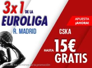 3 por 1 Euroliga R.Madrid-CSKA gana hasta 15€ gratis con Suertia