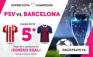 Megacuota 5 gana Barcelona en Champions en Suertia