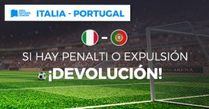 Italia-Portugal si hay penalti o expulsion devolucion en Paston