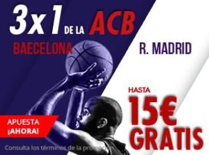 3 por 1 Acb Barcelona-Madrid hasta 15€ gratis en Suertia