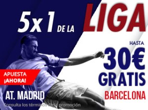 5 por 1 en l aliga At Madrid-Barcelona hasta 30€ gratis con Suertia