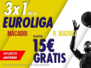 3 por 1 Euroliga Maccabi-R.Madrid en Suertia