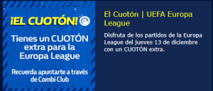 Cuoton extra Europe league en William Hill