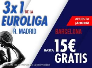 3 por 1 Euroliga Madrid-Barcelona gana hasta 15€ gratis con Suertia