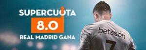 Megacuota 8 a la victoria del R.Madrid contra el Huesca en Betsson
