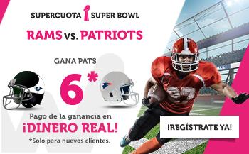 Megacuota 6 gana Patriots en Superbowl con Wanabet