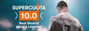 Megacuota 10 gana Madrid a Leganes en Betsson
