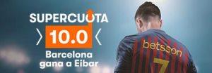 Megacuota 10 gana Barcelona a Eibar en Betsson