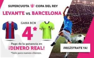 Megacuota 4 gana Barcelona al Levante en copa Rey,Wanabet