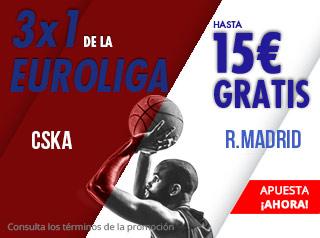 3x1 Euroliga CSKA-Madrid hasta 15€ gratis con Suertia
