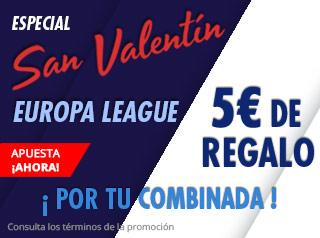 Especial San Valentin Europe League 5€ de regalo con Suertia