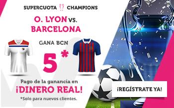 Megacuota 5 gana Barcelona a Lyon en Wanabet