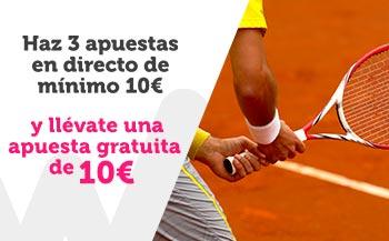 Haz 3 apuestas en directo en tenis de 10€ y llevate una apuesta gratuita de 10€ con Wanabet