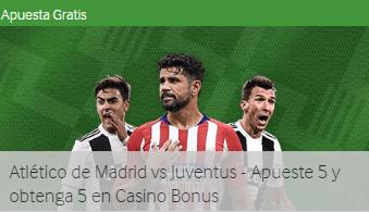 At Madrid-Juventus apueste 5€ y obtenga bono de 5€ en casino Betway