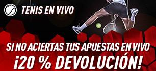 Tenis en vivo,si no aciertas tu apuesta 20% devolucion en Sportium