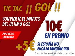 Con España 5€ sino encaja gol y hasta 10€ extras gratis Suertia