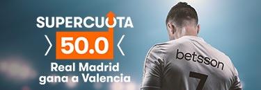Megacuota 50 gana Madrid a Valencia en Betsson