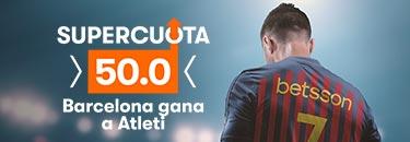 Megacuota 50 Barcelona gana a Atletico de Madrid,en Betsson