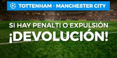 Tottenham-Manchester C. si hay penalti o expulsion,devolucion con Paston