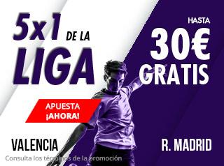 5x1 de la Liga,Valencia-Madrid hasta 30€ gratis en Suertia