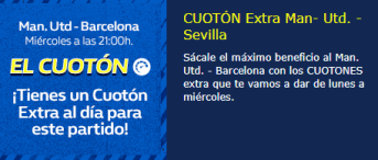 Cuoton extra Manchester-Barcelona en William Hill