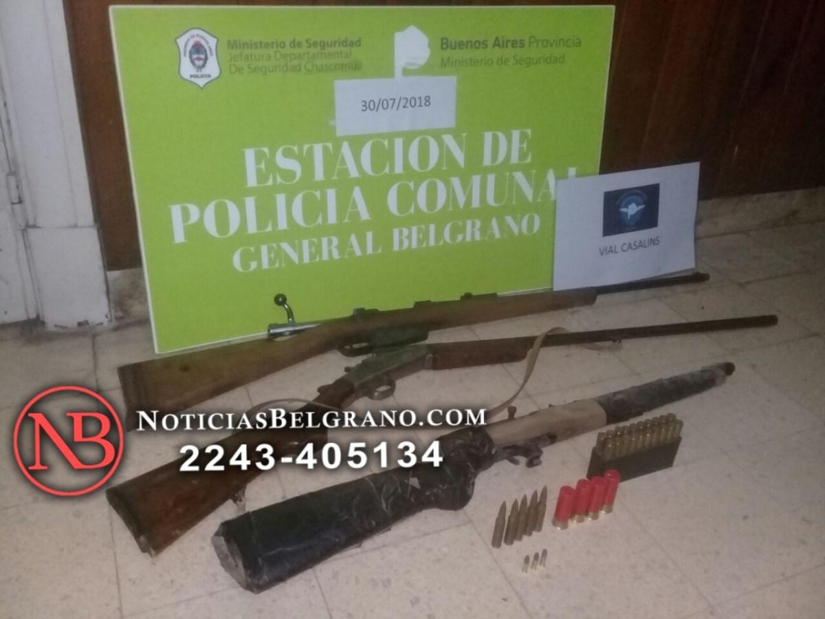 SECUESTRAN ARMAS DE IMPORTANTE CALIBRE AL REALIZAR UN ALLANAMIENTO EN GENERAL BELGRANO