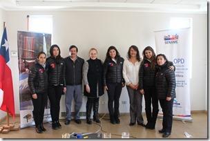 El equipo de OPD junto al alcalde de Curarrehue y la directora de Sename