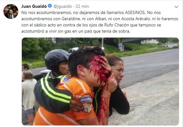 """Guaidó tilda de """"sádico"""" el ataque a Rufo Velandria y promete justicia"""