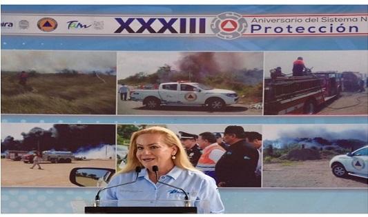 Preside Alma Laura Amparán ceremonia del 33 aniversario del Sistema Nacional de Protección Civil