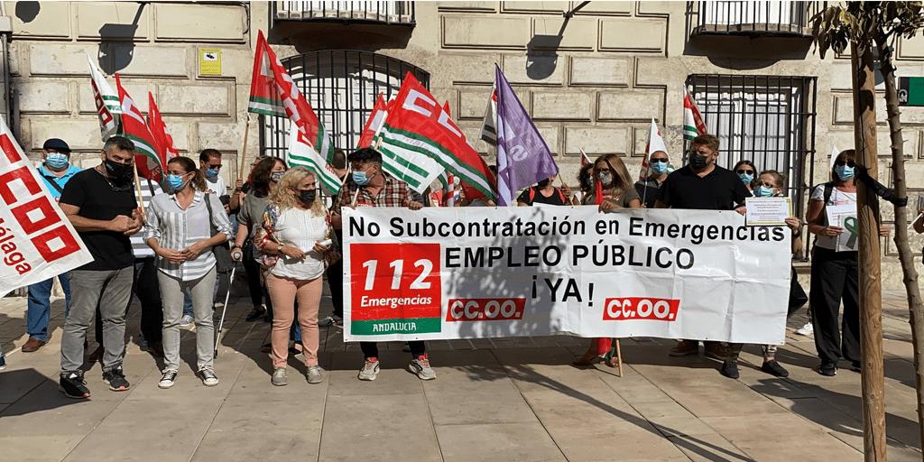 Trabajadores cristianos acompañan la movilización de los trabajadores de Emergencias 112 de Andalucía