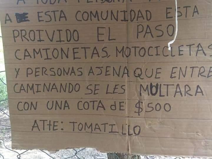 Todo foráneo deberá pagar 500 pesos si quiere entrar a la comunidad de Tomatillo, en Playa Vicente