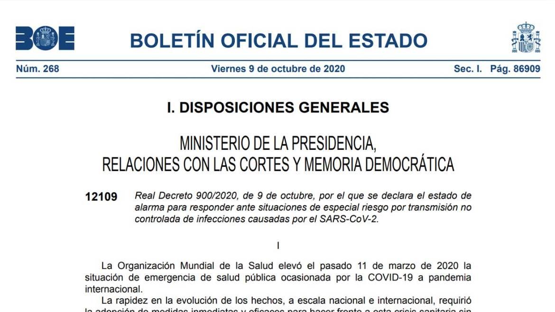 BOE que recoge el real decreto sobre el estado de alarma en Madrid.