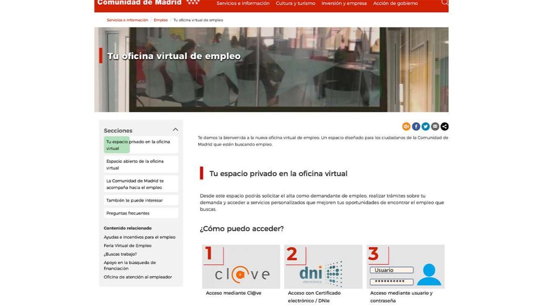 Oficina Virtual empleo Madrid para sellar el paro y conseguir trabajo