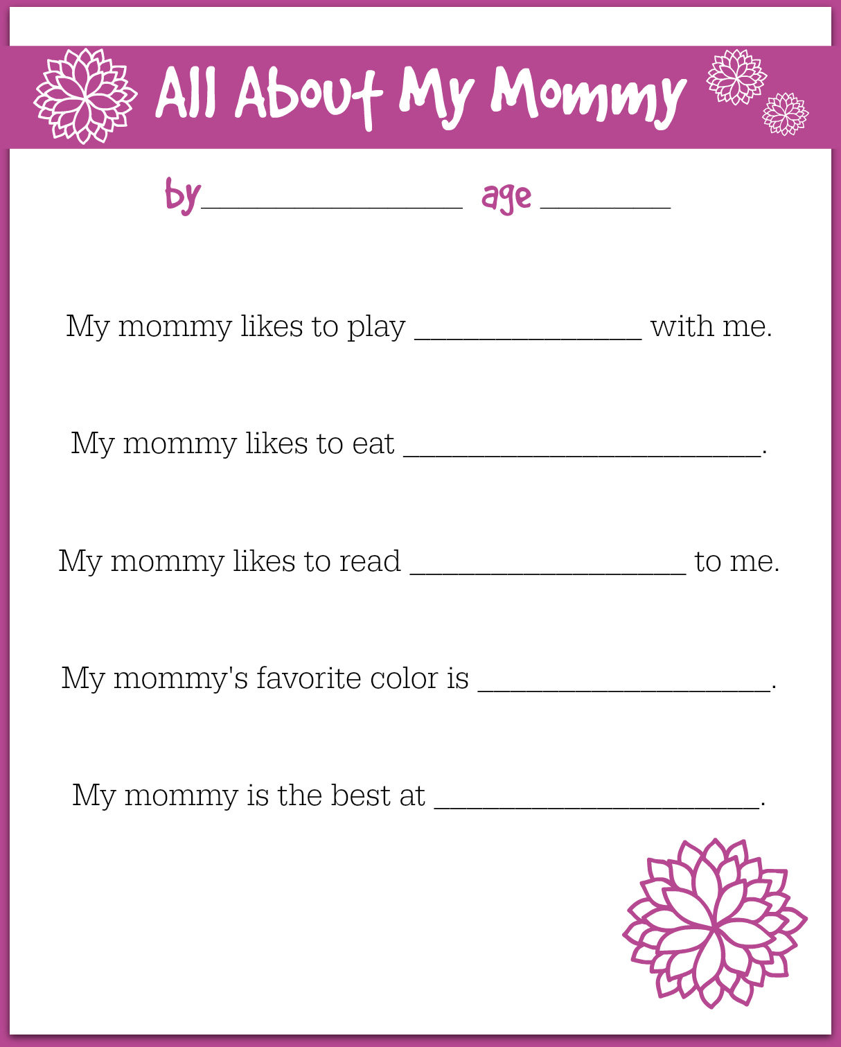Mother S Day Interview For Preschool Printable