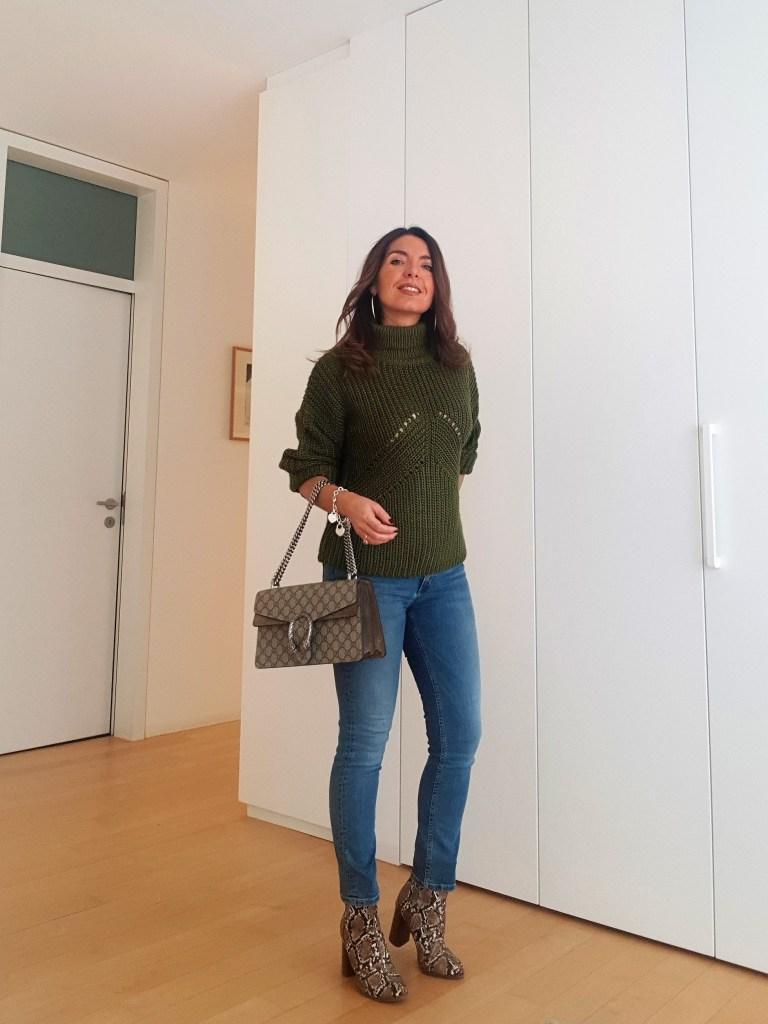 Outfit des Tages: ein grüner Pulli fürs Wochenende