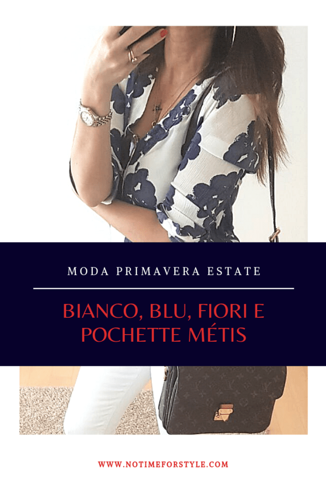 Outfit primavera estate: bianco, blu e una Pochette Métis di Louis Vuitton