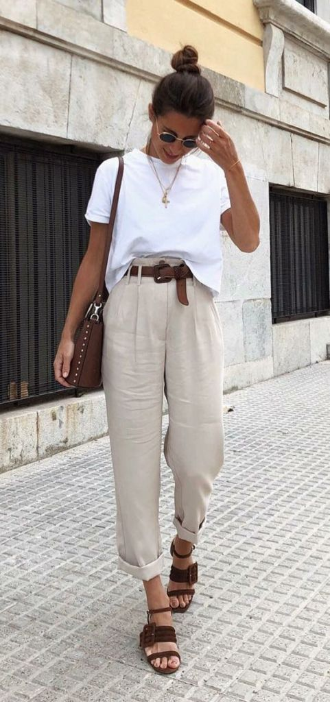 White and beige summer outfit