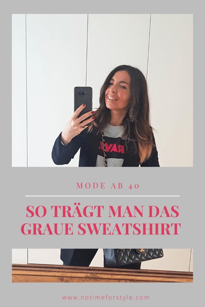 Sweatshirts kombinieren: so trägt man das graue Sweatshirt auch ab 50