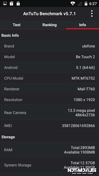 Ulefone Be Touch 2 Pasa por Antutu y Test en video Arañazos