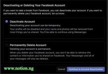 Delete Facebook Temporarily