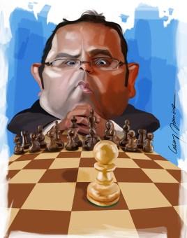 Rafael Román Meléndez, Secretario de Educación | caricatura de Gary Javier
