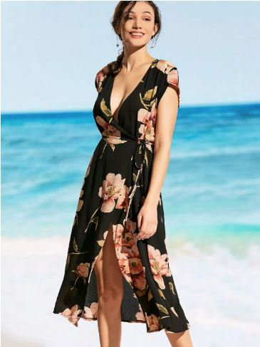 Plunging Neck Floral Wrap Beach Dress