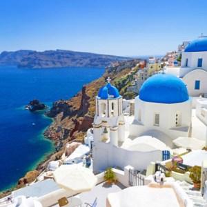 Visita la isla griega de Santorini en el mediterráneo