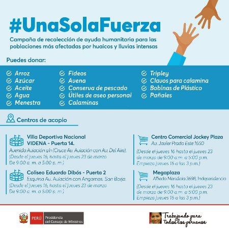 Puede realizar sus donaciones para las zonas de emergencia en los siguientes puntos