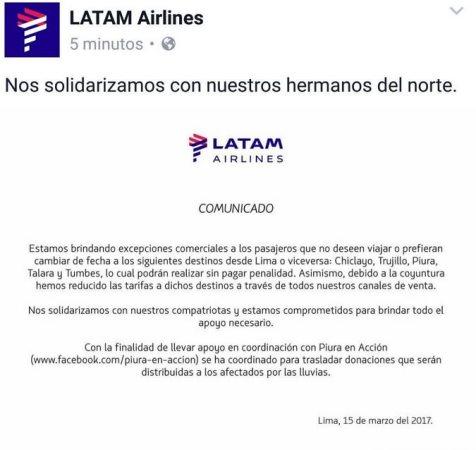 Tras denuncia por sobrecostos, LATAM bajará sus precios en zonas de emergencia