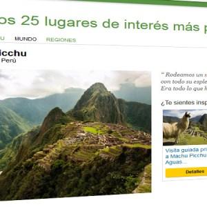 TripAdvisor: Machu Picchu entre los 10 lugares de interés más populares del mundo