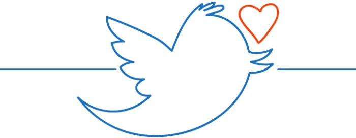 Twittervogel mit Herz
