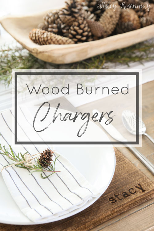 wood burned chargers